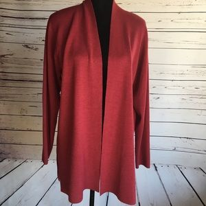 Eileen Fisher cardigan, wool, red, large
